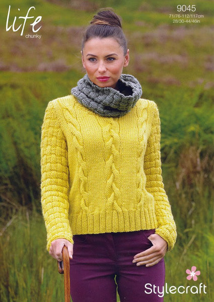 Sweater and Cowl Collar in Stylecraft Life Chunky (9045)