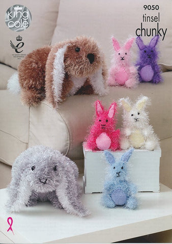 Rabbits in King Cole Tinsel Chunky and Dollymix DK (9050)