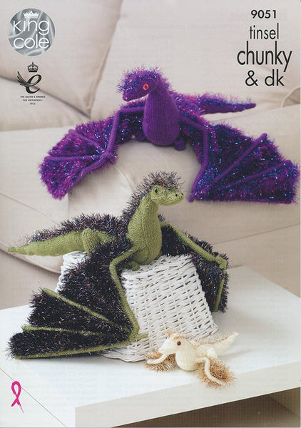 Dragons in King Cole Tinsel Chunky and Pricewise DK (9051)-Deramores