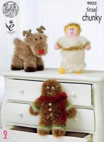 Reindeer and Gingerbread Man - King Cole Tinsel Chunky - Pattern and Yarn Kit