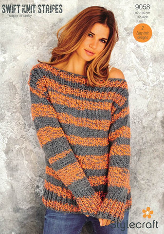 Boyfriend Sweater and Beanie Hat in Stylecraft Swift Knit Stripes (9058)-Deramores