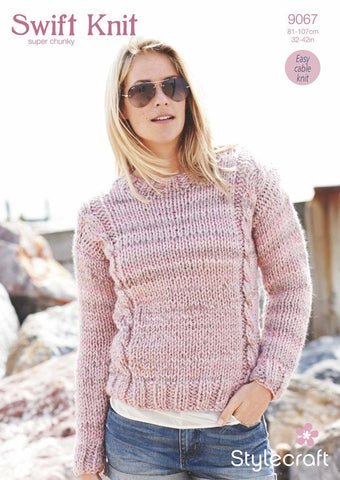 Cable Sweater in Stylecraft Swift Knit Super Chunky (9067)-Deramores