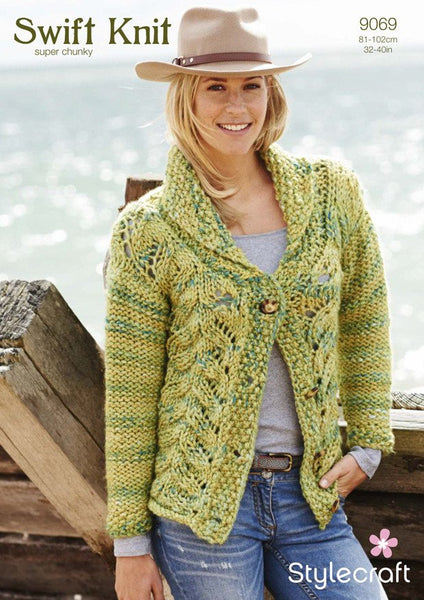 Ladies Cardigan in Stylecraft Swift Knit Super Chunky (9069)-Deramores