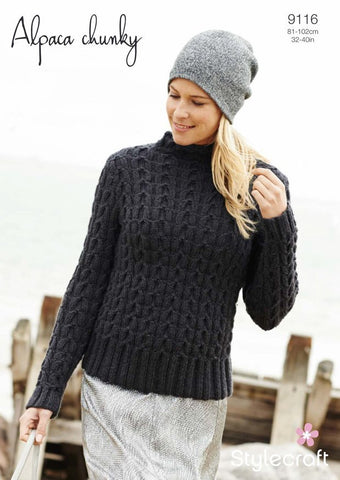 Ladies Cable Sweater in Stylecraft Alpaca Chunky (9116)-Deramores