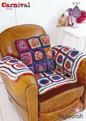 Wheel in Square Throw and Cushion in Stylecraft Carnival & Special Aran (9157)