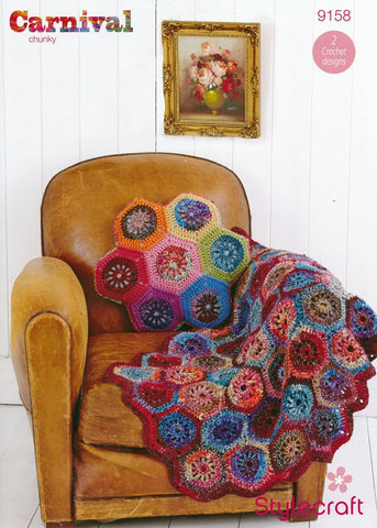 Hexagon Throw and Cushion in Stylecraft Carnival Chunky & Special Aran (9158)-Deramores