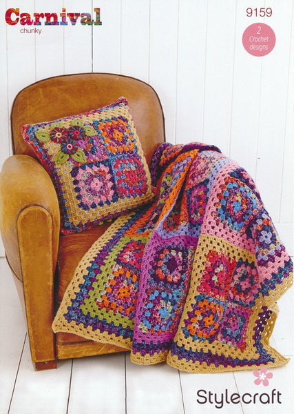 Granny Square Throw Kit in Stylecraft Carnival Chunky & Special Aran with Free Pattern-Deramores