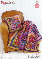 Granny Square Throw Kit in Stylecraft Carnival Chunky & Special Aran with Free Pattern