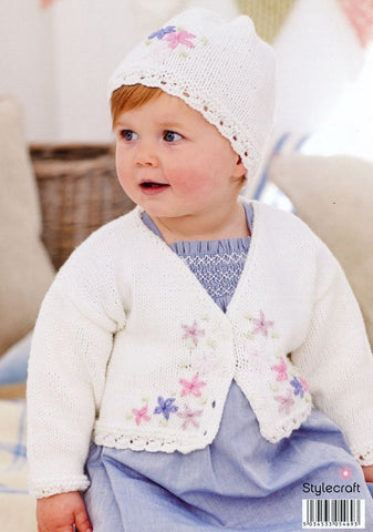 Embroidered Cardigan & Hat in Stylecraft Lullaby DK (9172)-Deramores