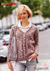 Travelling Cable V Neck Jumper in Mosaic Super Chunky (9202)