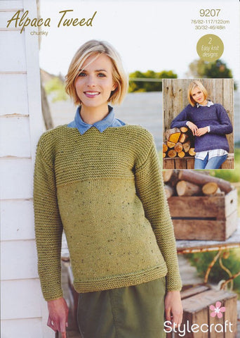 Stocking Stitch and Garter Stitch Jumper in Stylecraft Alpaca Tweed Chunky (9207)