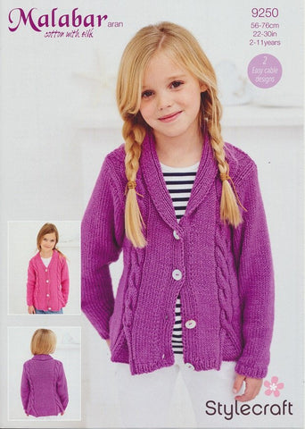 Girls Cardigan in Stylecraft Malabar Aran (9250)-Deramores