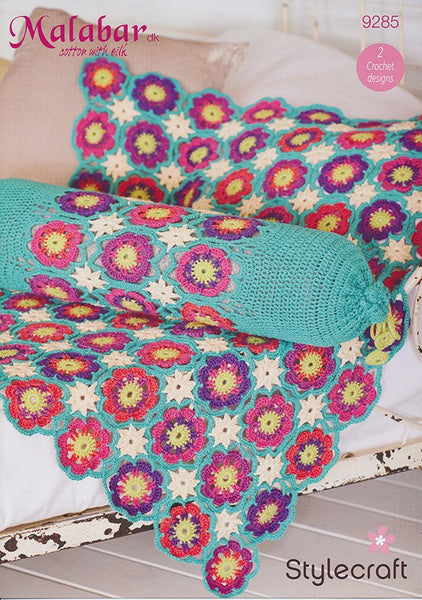 Flower Throw and Bolster in Stylecraft Malabar DK (9285)-Deramores