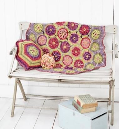 Hexagon Flower blanket and Cushion Cover in Batik DK (9298)-Deramores