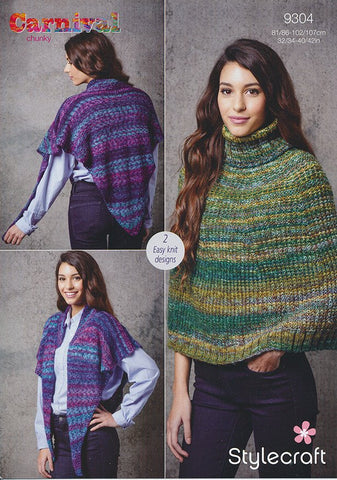 Cape and Reversible Poncho in Stylecraft Carnival Chunky (9304)-Deramores