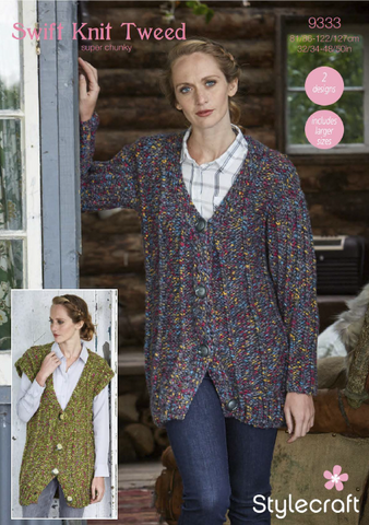 b59c0cb8d Cardigan and Waistcoat in Swift Knit Tweed (9333) – Deramores