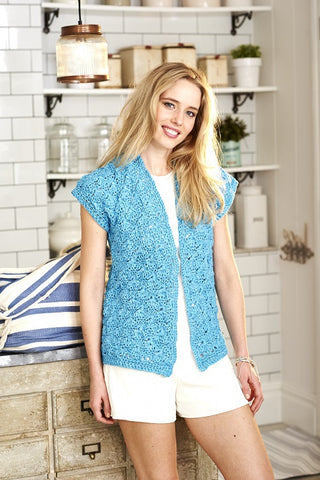 Waistcoat and Tee in Stylecraft Mystique Quick & Light - (9385)