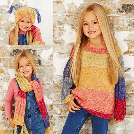 Girls Sweater, Scarf & Hat in Stylecraft Batik Swirl (9484)