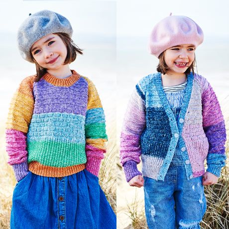 Girls Sweater, Cardigan & Scarf in Stylecraft Batik Swirl (9538)