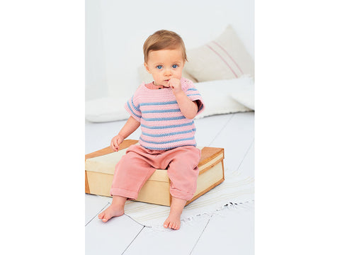 Crochet Striped Top & Sweater in Stylecraft Bambino (9608)