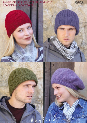 Hats in Hayfield Chunky With Wool (9698)-Deramores