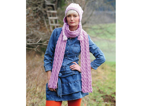 Norweigian Cap & Cabled Scarf in Rico Design Essentials Soft Merino Aran (RD029)