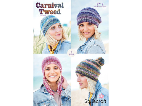 Hats, Beret and Helmet in Stylecraft Carnival Tweed (9719)