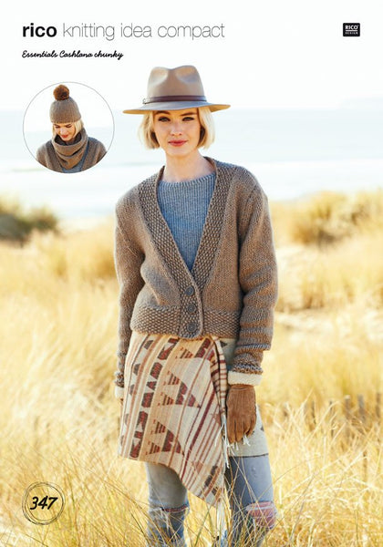 Chunky Cardigan, Snood and Hat in Rico Design Essentials Cashlana (347)-Deramores