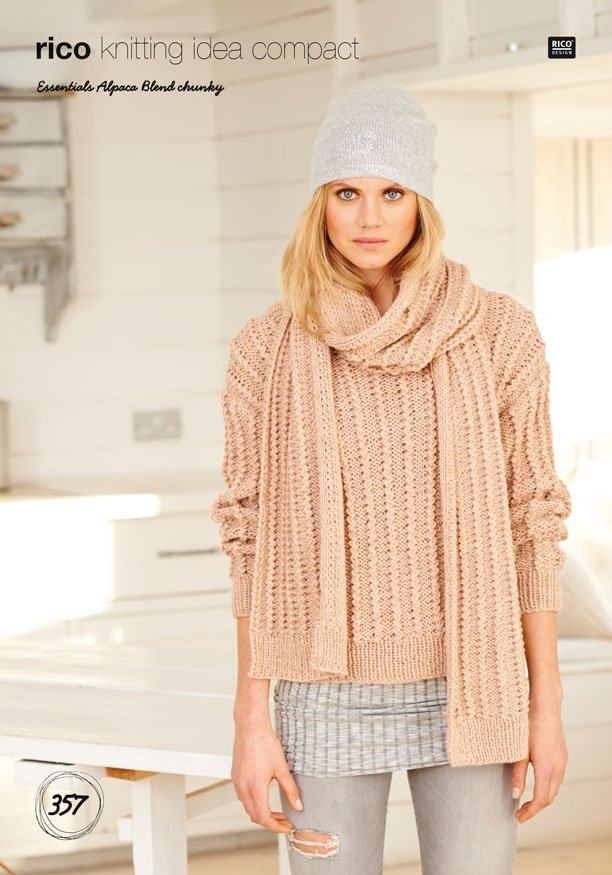 Ribbed Sweater and Scarf in Rico Design Essentials Alpaca Blend Chunky (357)