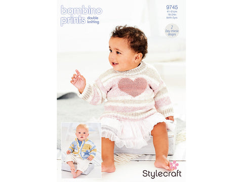 Jumper and Cardigan in Stylecraft Bambino Prints & Bambino DK (9745)