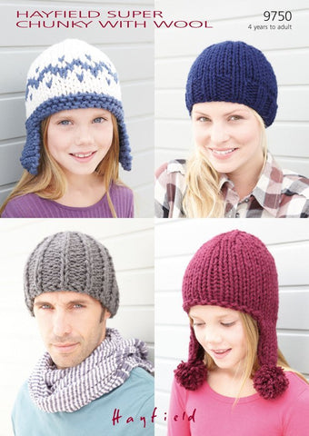 Hats in Hayfield Super Chunky With Wool (9750)-Deramores