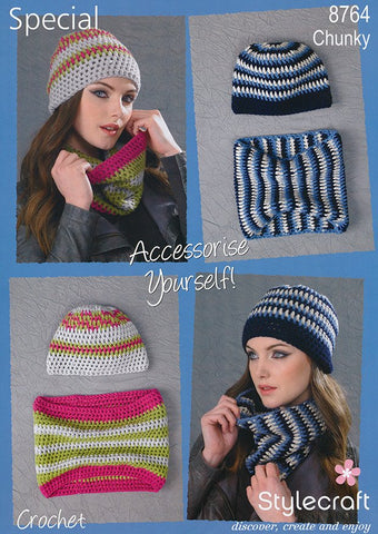 Beanie Hat and Cowl in Stylecraft Special Chunky (8764)-Deramores