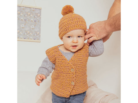 Vest, Jacket and Hat in Rico Design Baby Dream Luxury Touch DK Uni (980)