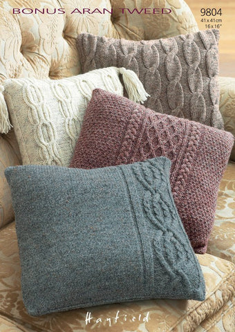 Cushion Covers In Hayfield Bonus Aran Tweed (9804)-Deramores