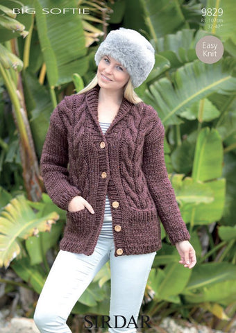Cardigan In Sirdar Big Softie (9829)-Deramores