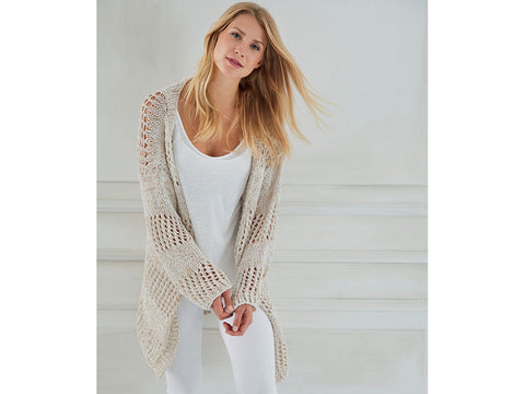 Cardigan in Mesh Pattern in Schachenmayr Peach Cotton (S10461)