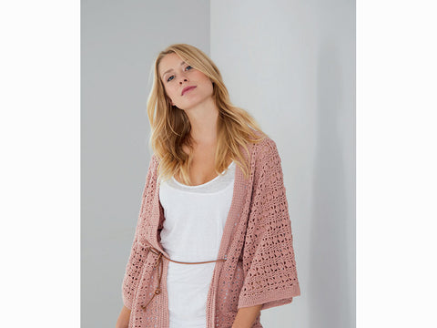 Kimono-Style Crochet Jacket in Schachenmayr Peach Cotton (S10462)