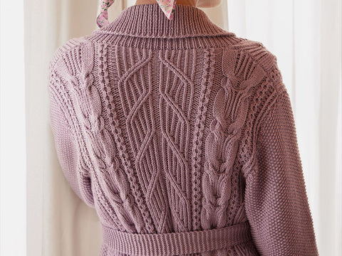Andante Cable Cardigan Knitting Kit and Pattern in Novita Yarn
