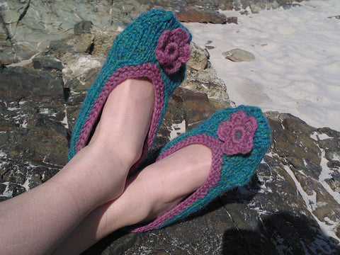 Ballet Slippers by Sarah Murray in Patons Alpaca Merino Twist Aran