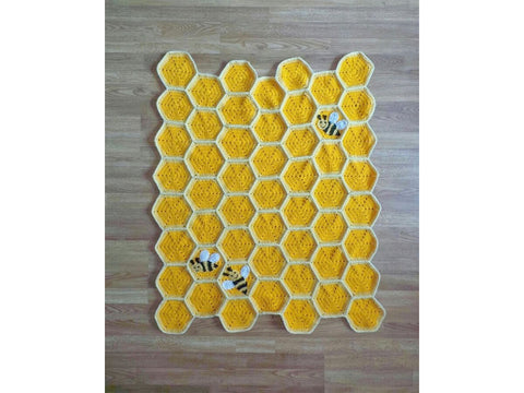 Bee Happy Honeycomb Baby Blanket Lapghan by Crafting Happiness in Stylecraft Special Chunky and Deramores Studio DK