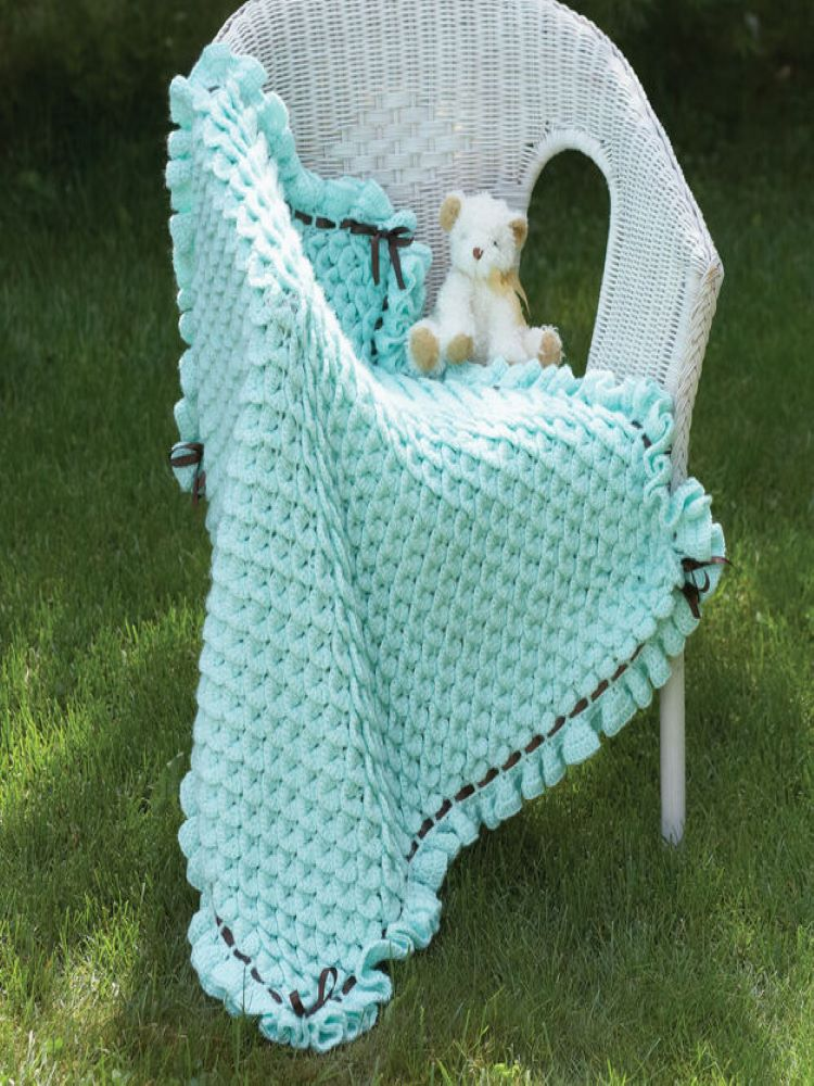Crocodile Stitch Baby Blanket Crochet Kit and Pattern
