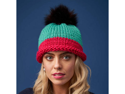 Big Wool Brights Beanie Knitting Kit and Pattern in Rowan Yarn