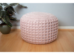 Textured Pouffe Crochet Kit and Pattern in Deramores Yarn