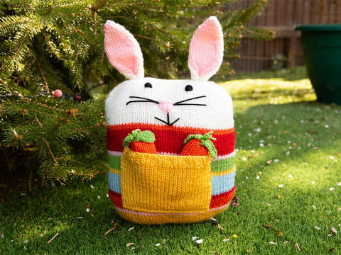 Bunny Cushion with Carrot Pocket Knitting Kit and Pattern in Deramores Yarn
