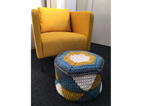 Geometric Pouffe Crochet Kit and Pattern in Cygnet Yarn (CY1037)