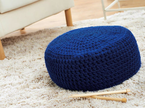 Cornflower Crochet Pouffe in Cygnet Yarns Seriously Chunky