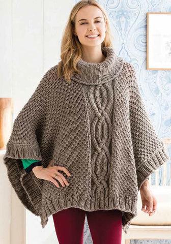 Buy Cabled Poncho In Deramores Studio Chunky By Amy Micallef