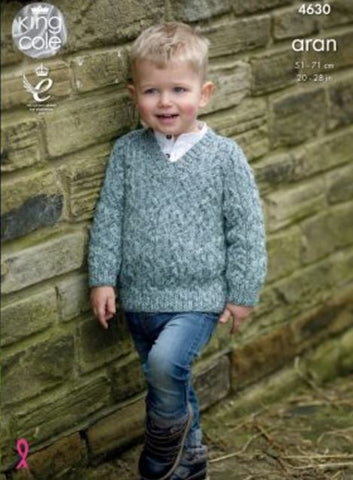 Sweater & Slipover in King Cole Fashion Aran Combo (4630)