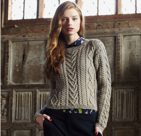 Cable Panelled Sweater Digital Version-Deramores