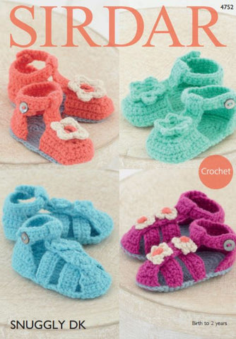 Sandals in Sirdar Snuggly DK (4752P) - Digital Version